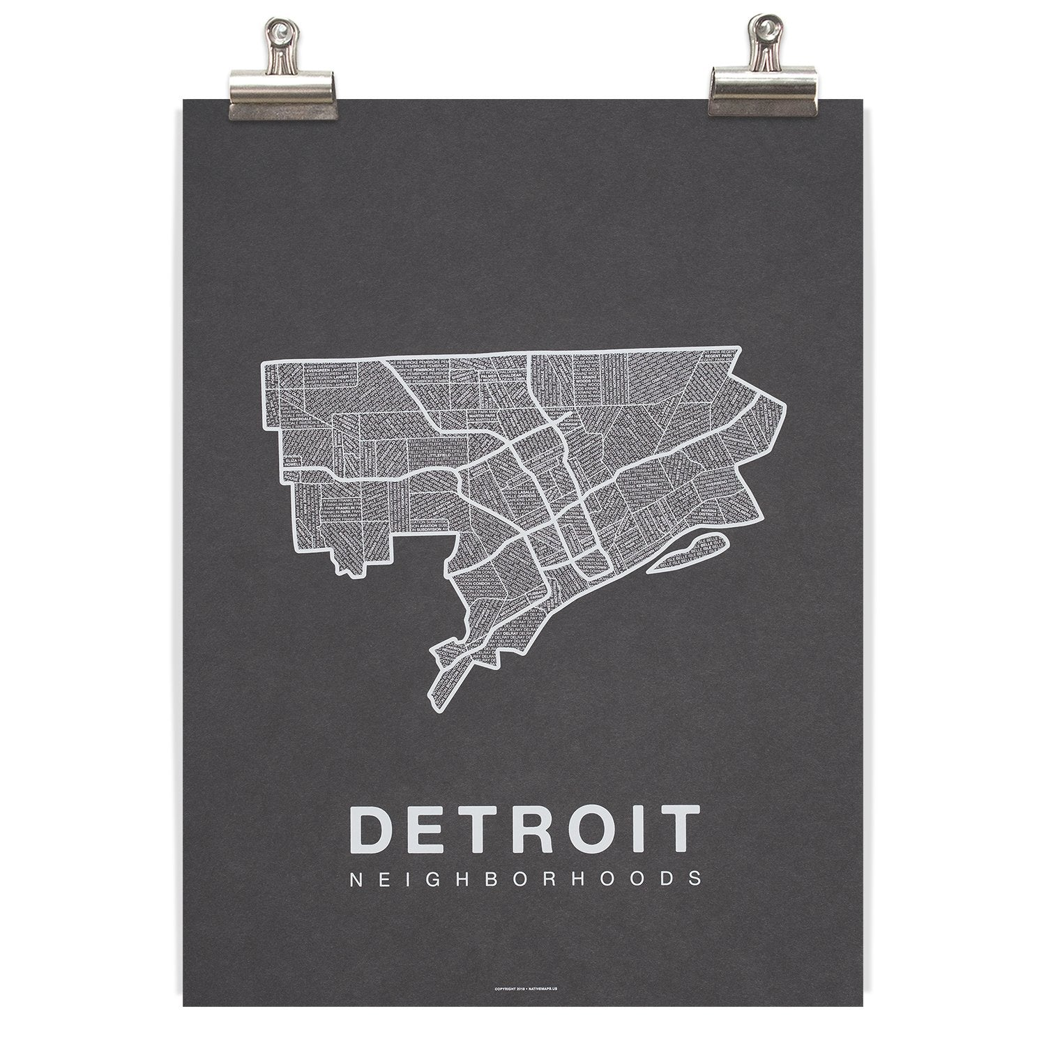 Detroit Neighborhood Map - Charcoal - Pure Detroit