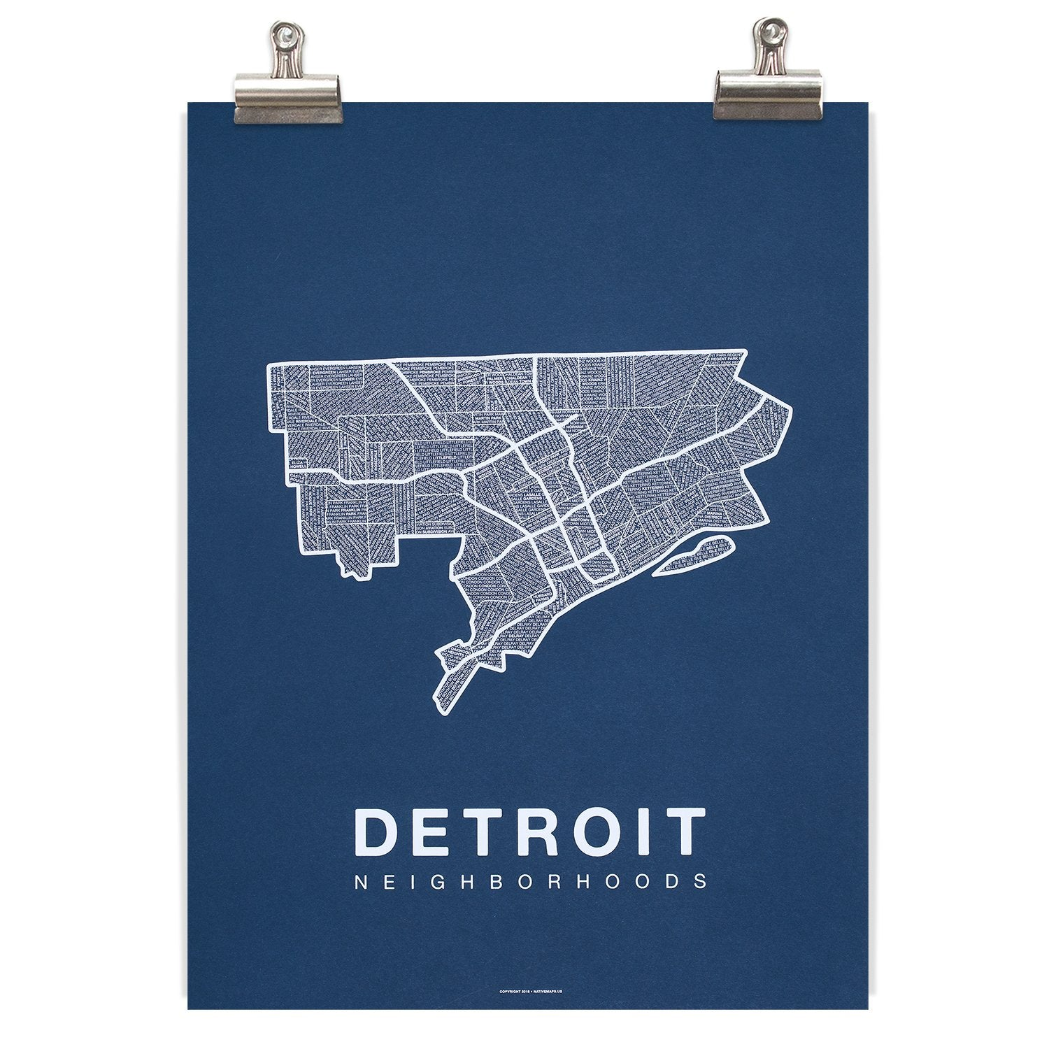 Detroit Neighborhood Map - Navy - Pure Detroit