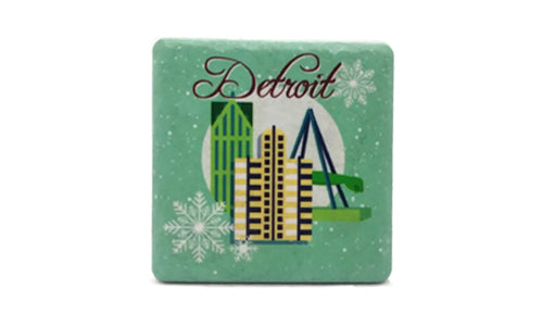 Detroit Winter Illustration Porcelain Tile Coaster - Pure Detroit