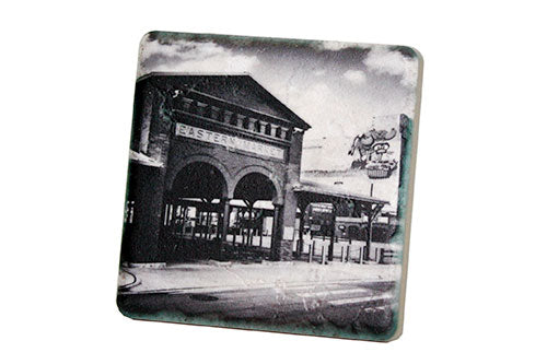 Eastern Market Shed Black & White Porcelain Tile Coaster - Pure Detroit