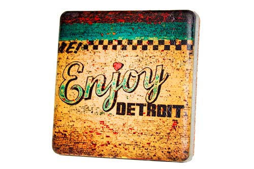 Enjoy Detroit Porcelain Tile Coaste - Pure Detroit