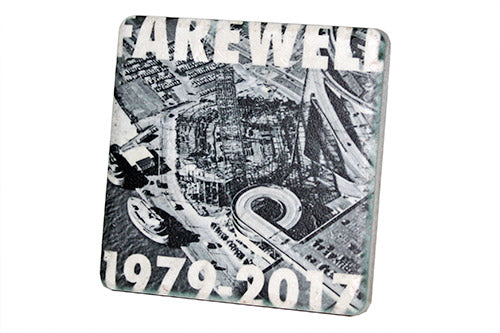 Farewell Joe Louis Aerial 1979-2017 Black & White Porcelain Tile Coaster - Pure Detroit