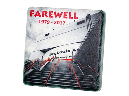 Farewell Joe Louis 1979-2017 Black & White Porcelain Tile Coaster - Pure Detroit