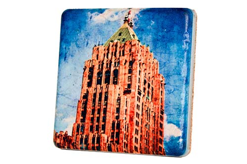 Fisher Building Porcelain Tile Coaster - Pure Detroit
