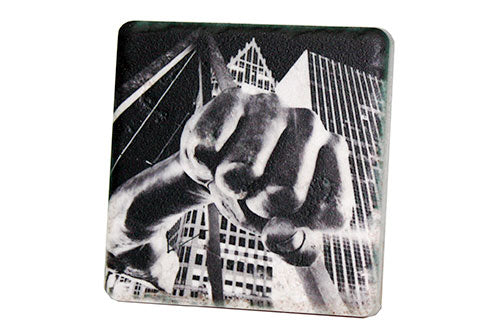 Joe Louis Fist Black & White Porcelain Tile Coaster - Pure Detroit