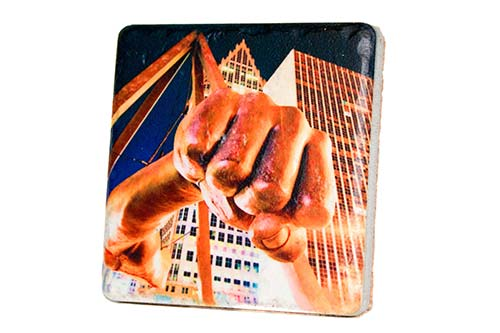 Joe Louis Fist Tilt Porcelain Tile Coaster - Pure Detroit