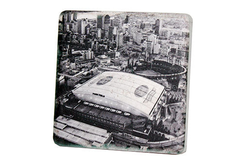 Ford Field Aerial Black & White Porcelain Tile Coaster - Pure Detroit