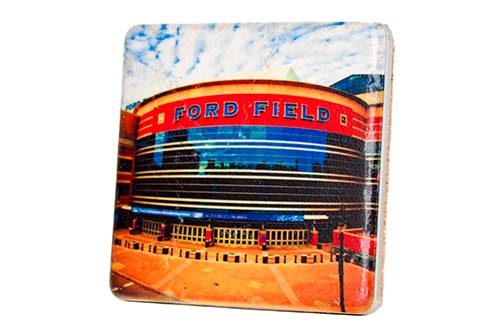 Ford Field Porcelain Tile Coaster - Pure Detroit
