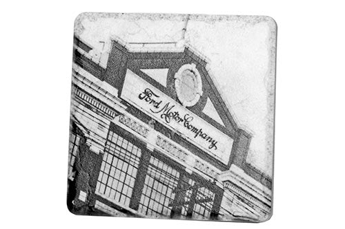 Historic Ford Motor Company Black & White Porcelain Tile Coaster - Pure Detroit