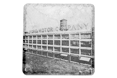 Historic Ford Motor Company Plant Black & White Porcelain Tile Coaster - Pure Detroit
