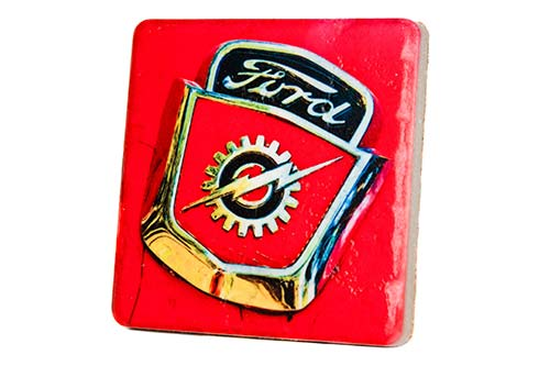 Ford Bolt Emblem Porcelain Tile Coaster - Pure Detroit