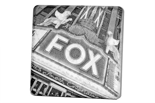 Fox Theatre Black & White Porcelain Tile Coaster - Pure Detroit