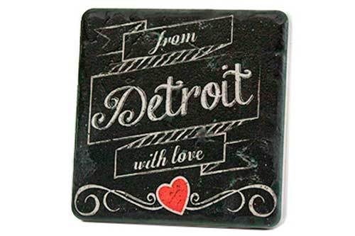From Detroit With Love Porcelain Tile Coaster - Pure Detroit