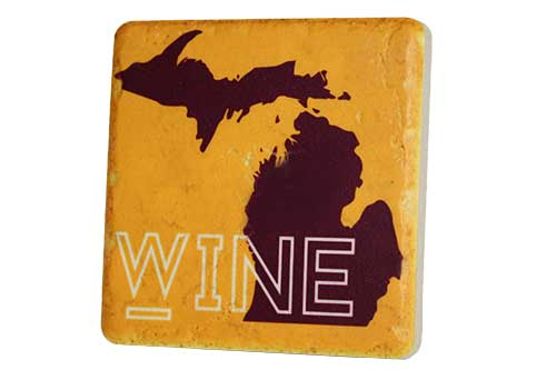 Michigan Wine Porcelain Tile Coaster - Pure Detroit