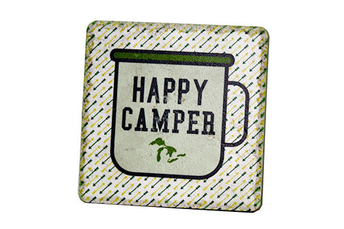 Michigan Happy Camper Porcelain Tile Coaster