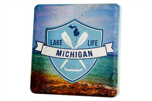 Lake Michigan Life Porcelain Tile Coaster - Pure Detroit