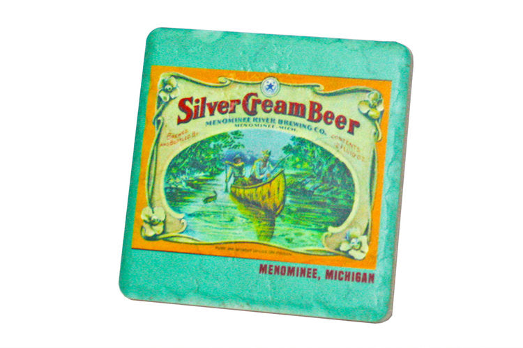 Silver Cream Beer Porcelain Tile Coaster - Pure Detroit