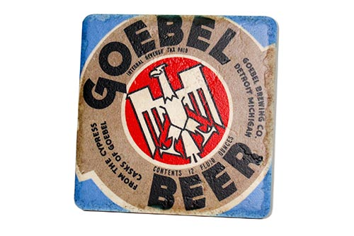 Vintage Goebel Beer Porcelain Tile Coaster - Pure Detroit