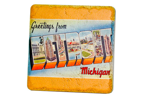 Vintage Greetings From Detroit Porcelain Tile Coaster - Pure Detroit
