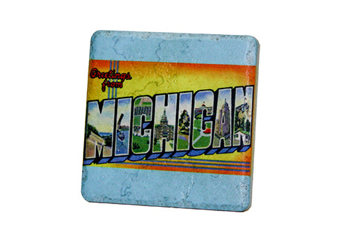 Greetings From Michigan Porcelain Tile Coaster