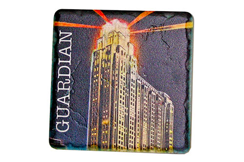 Vintage Guardian Building at Night Porcelain Tile Coaster - Pure Detroit