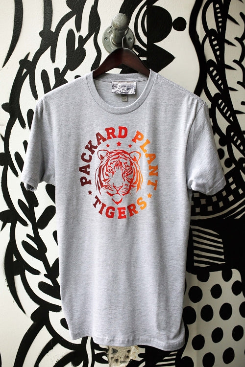 Packard Plant Tigers Tee / Red + Orange + Heather Gray / Unisex - Pure Detroit