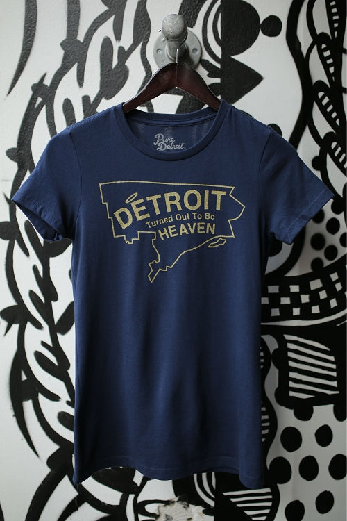 Detroit Turned Out To Be Heaven Tee / Yellow + Navy / Women's