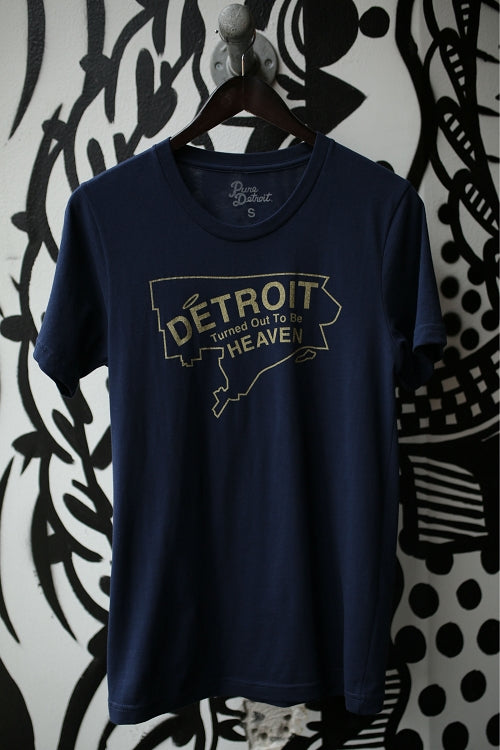 Detroit Turned Out To Be Heaven Tee / Yellow + Navy / Unisex