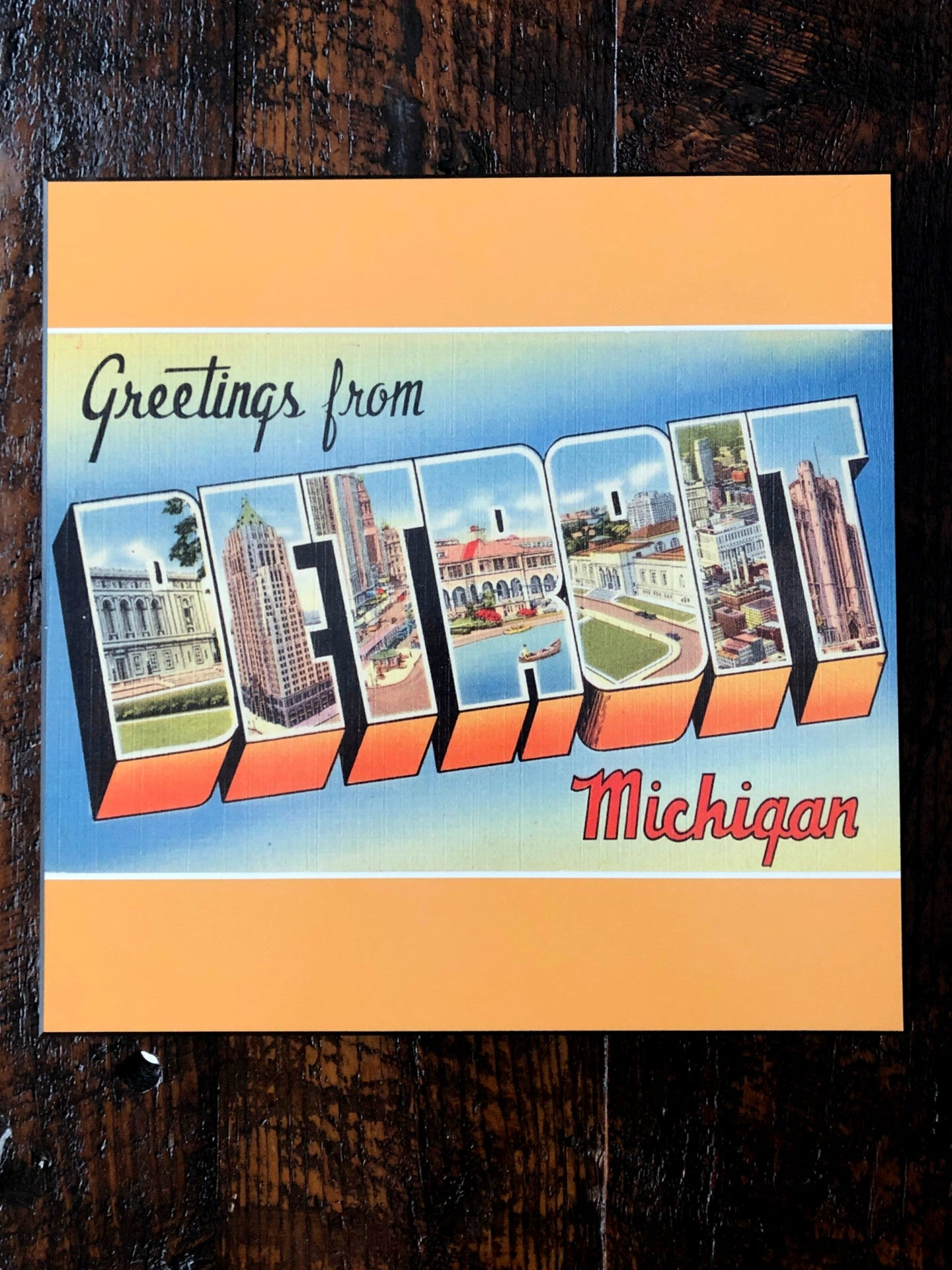 Vintage Greetings From Detroit Woodblock Print