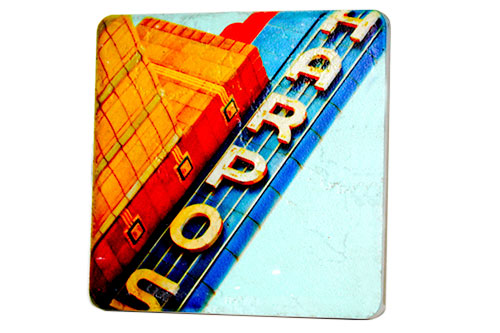 Harpos Sign Porcelain Tile Coaster - Pure Detroit