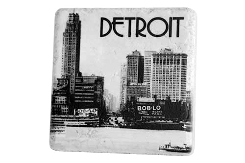 Historic Detroit Skyline Black & White Porcelain Tile Coaster - Pure Detroit