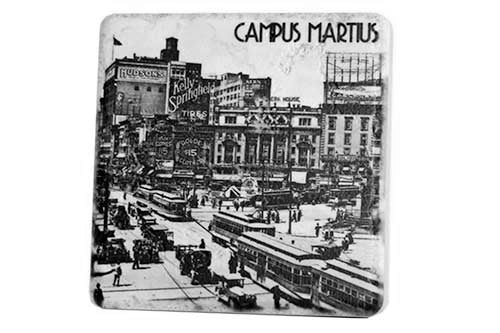 Historic Campus Martius Black & White Porcelain Tile Coaster - Pure Detroit