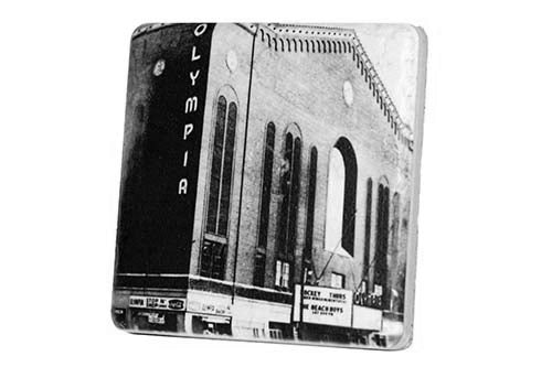 Historic Olympia Stadium Black & White Porcelain Tile Coaster - Pure Detroit