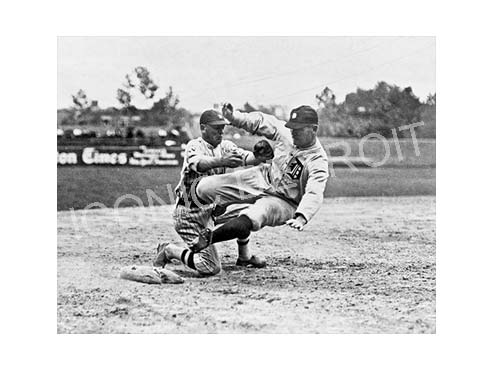 Historic Tigers Base Slide Black and White Luster or Canvas Print $35 - $430