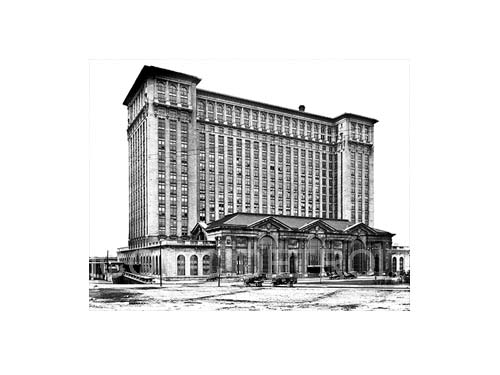 Historic Michigan Central Station Black and White Luster or Canvas Print $35 - $430
