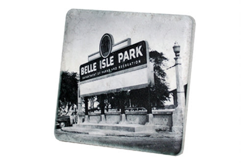 Historic Belle Isle Park Sign Black & White Porcelain Tile Coaster - Pure Detroit