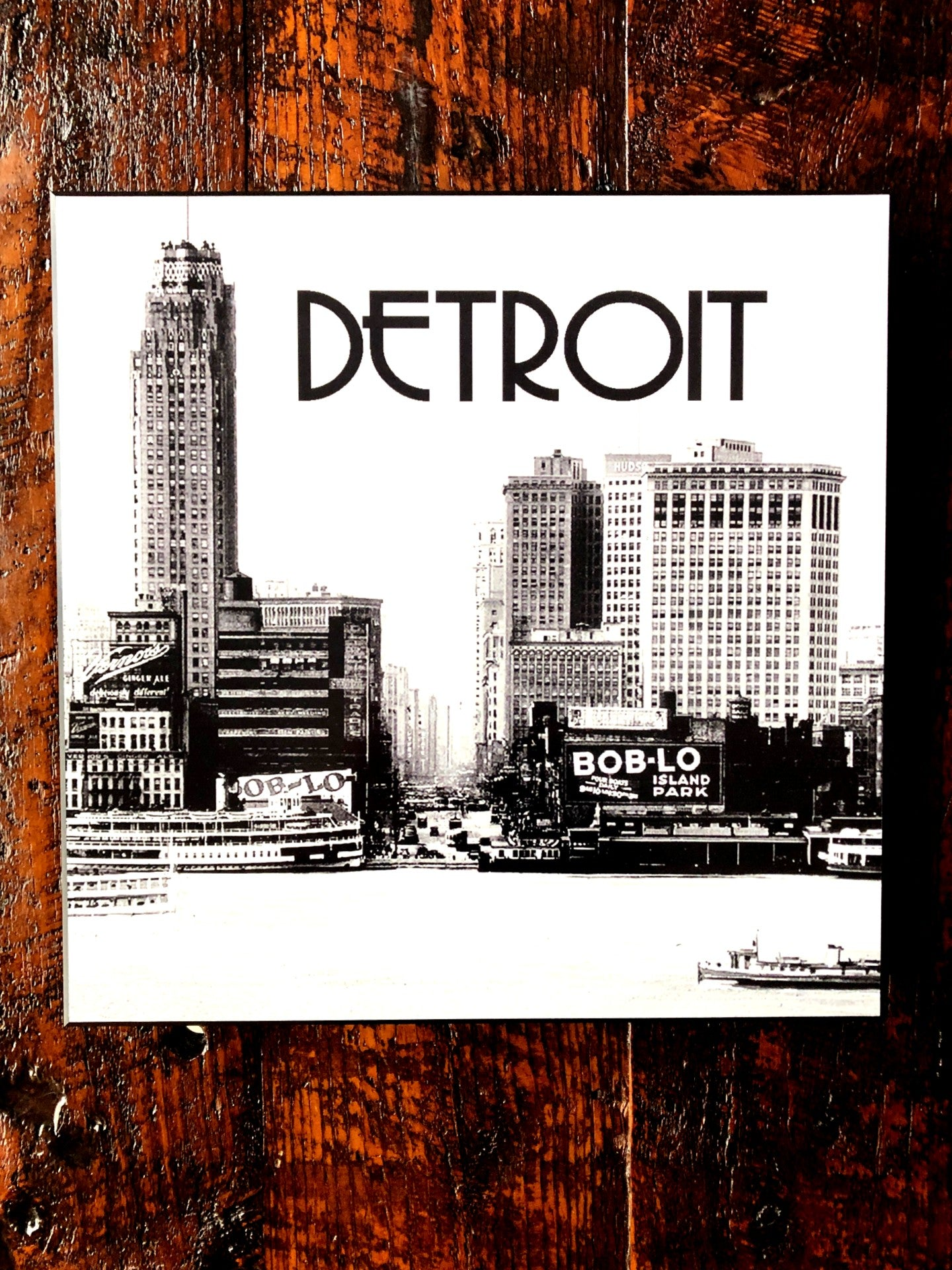 Historic Detroit Skyline Woodblock Print - Pure Detroit