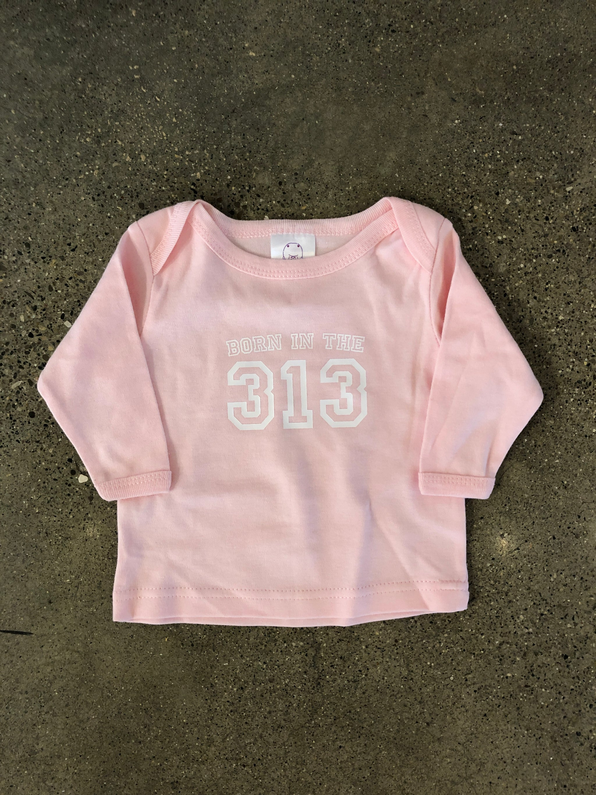 Born in the 313 Longsleeve / White + Pink / Toddler - Pure Detroit