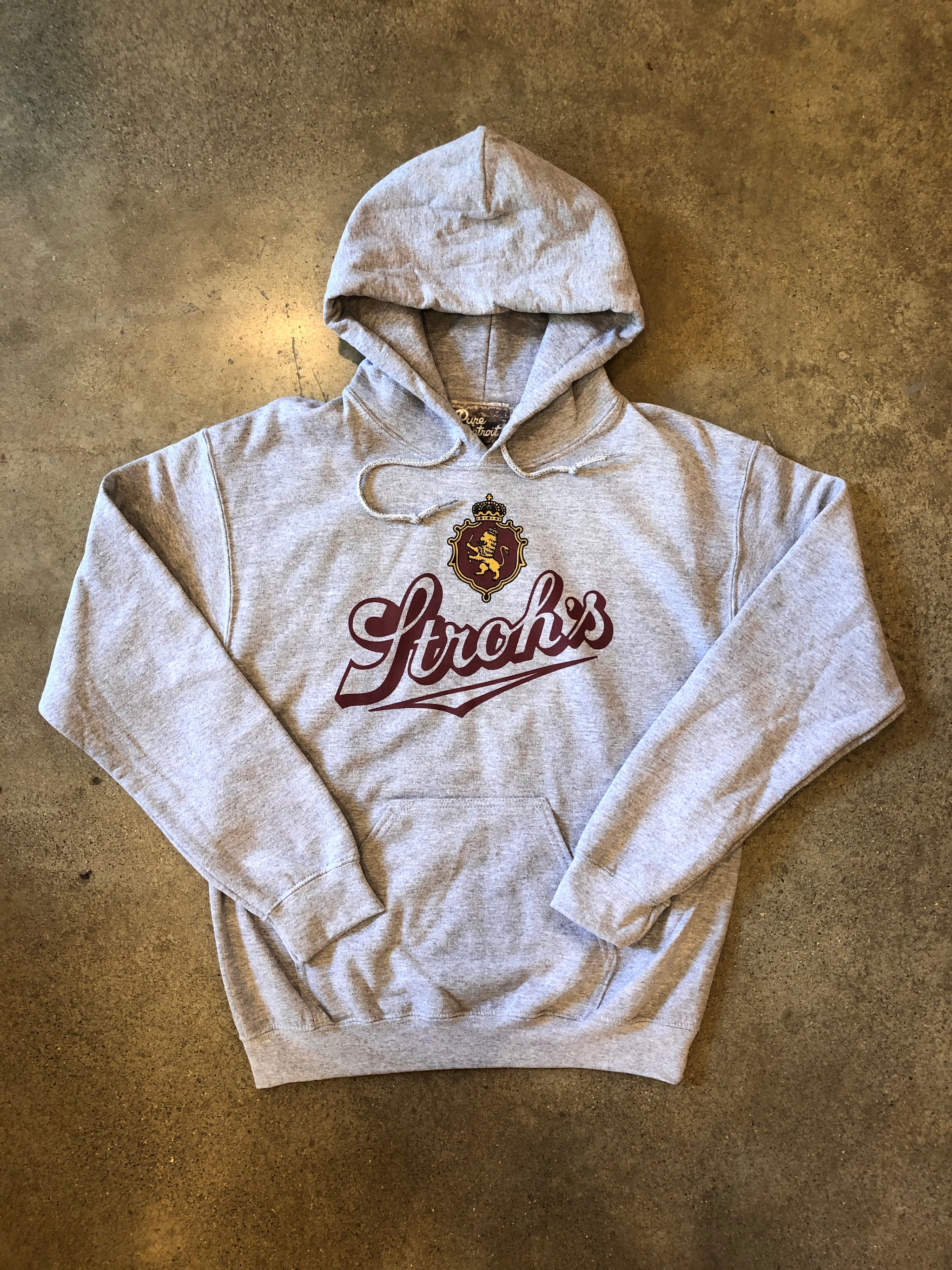Stroh's Fire Brewed Beer Pullover / Gray / Unisex - Pure Detroit