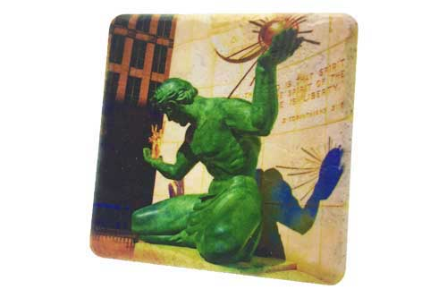 Spirit of Detroit Clear Porcelain Tile Coaster - Pure Detroit
