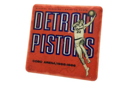 Retro Detroit Pistons Porcelain Tile Coaster - Pure Detroit