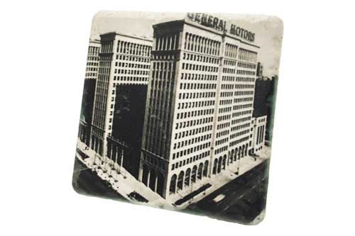 Vintage General Motors Building Porcelain Tile Coaster