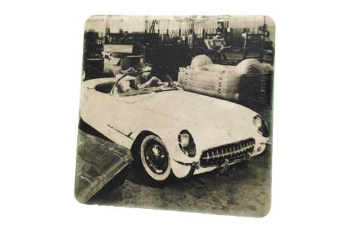 Historic Corvette Assembly Line Black & White Porcelain Tile Coaster - Pure Detroit