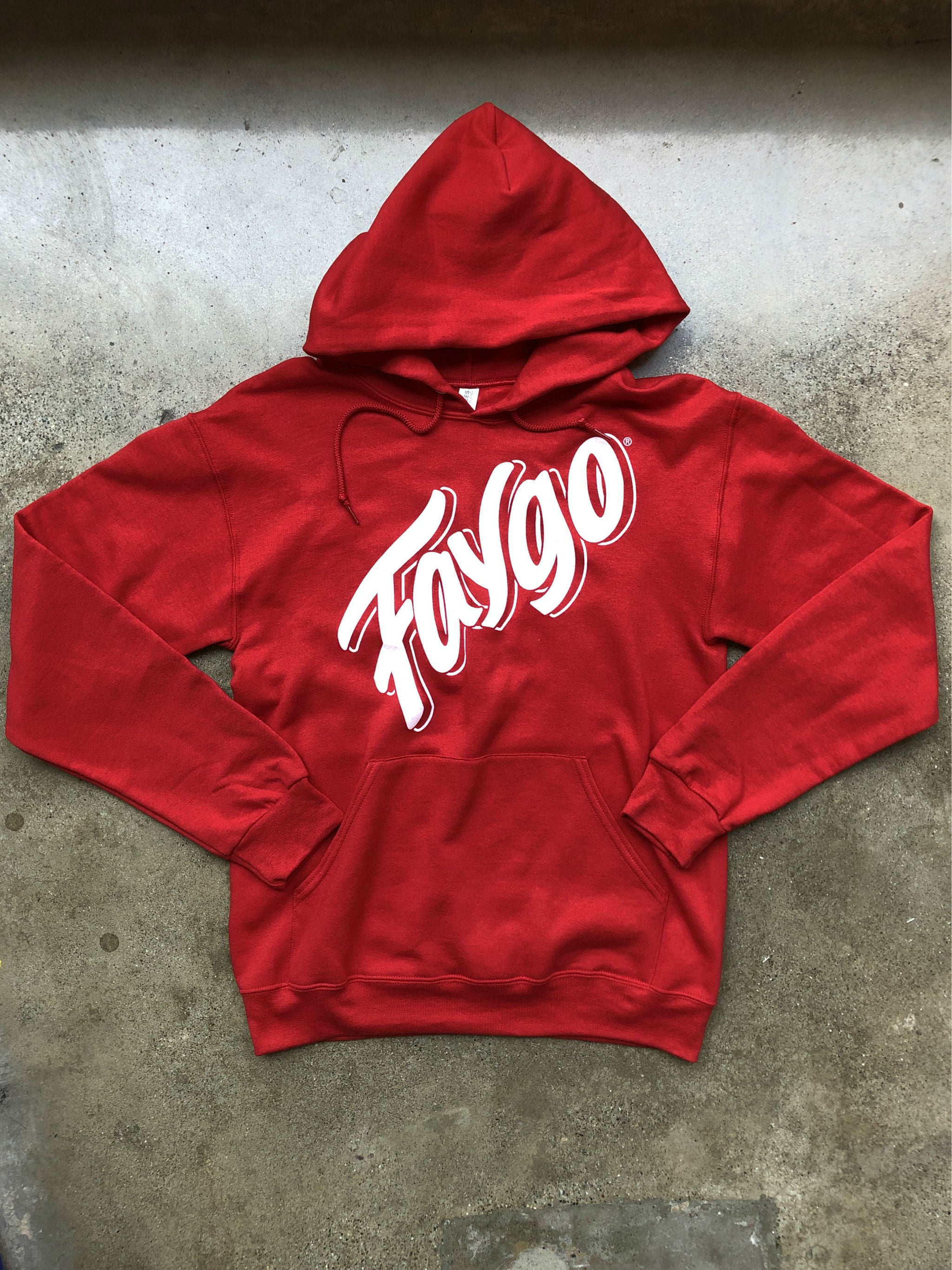 Faygo Script Pullover Hooded Sweatshirt / Red / Unisex - Pure Detroit