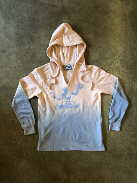 Spirit of Detroit Terry Ombre Hooded Sweatshirt / Gray + Cameo Pink and Stonewash / Women's - Pure Detroit