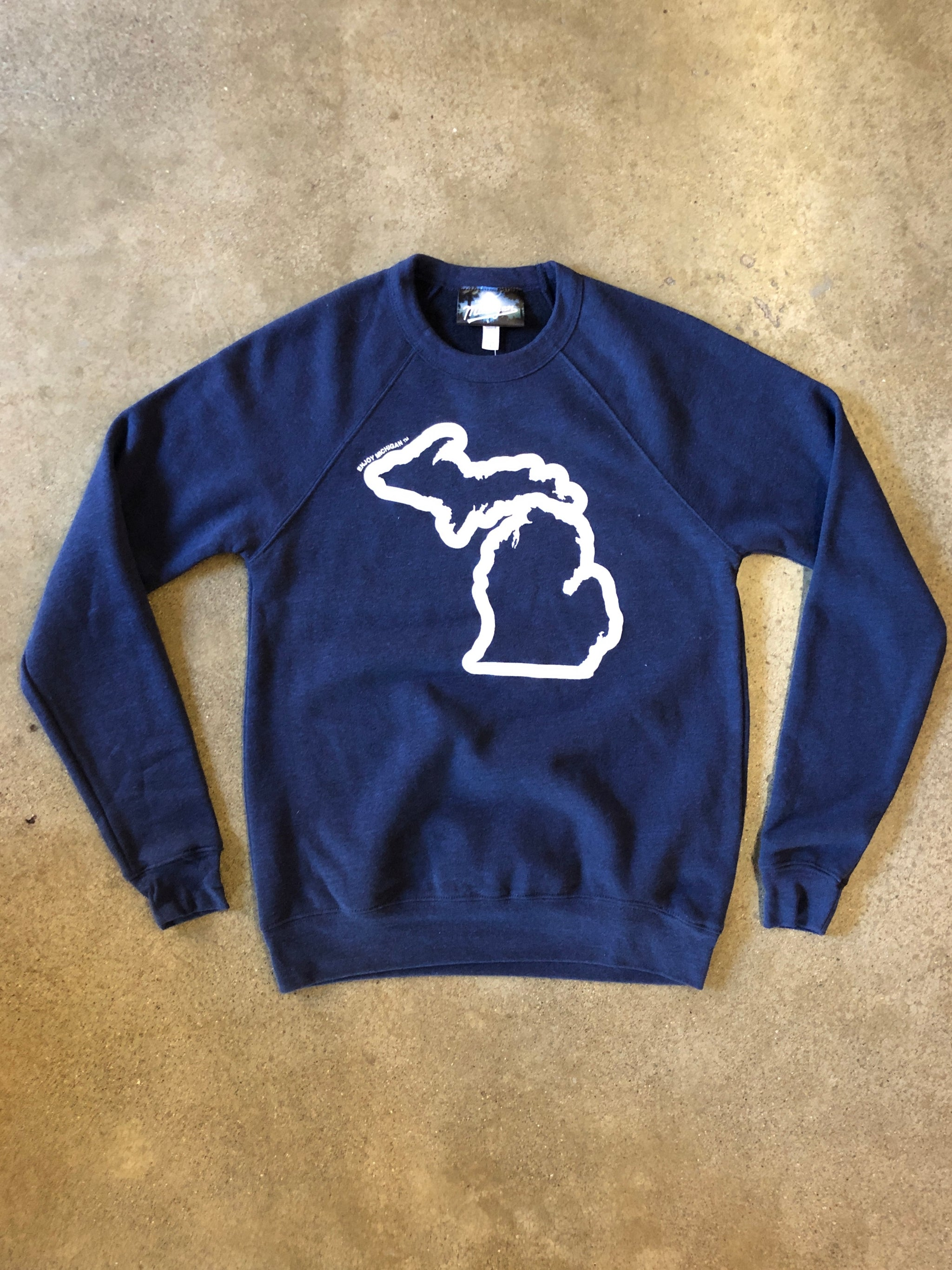 Enjoy Michigan Sweatshirt / White + Heather Navy / Unisex - Pure Detroit