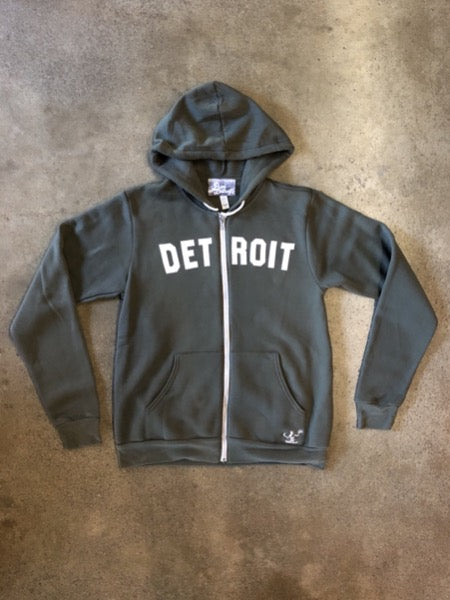 Detroit Classic Tri-Blend Zip Hoodie / White + Military Green / Unisex - Pure Detroit