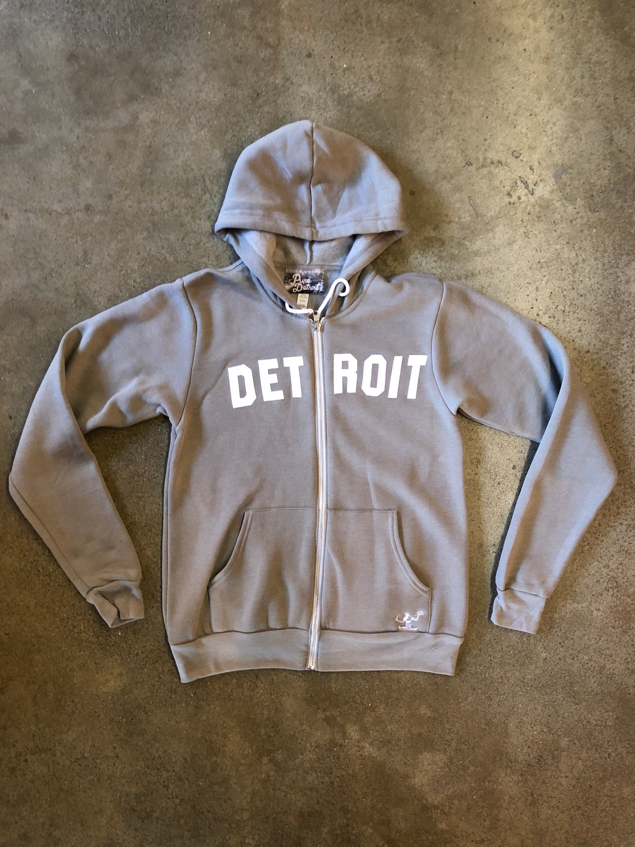 Detroit Classic Tri-Blend Zip Hoodie / White + Heather Stone / Unisex - Pure Detroit
