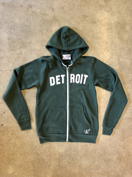 Detroit Classic Tri-Blend Zip Hoodie / White + Forest / Unisex - Pure Detroit