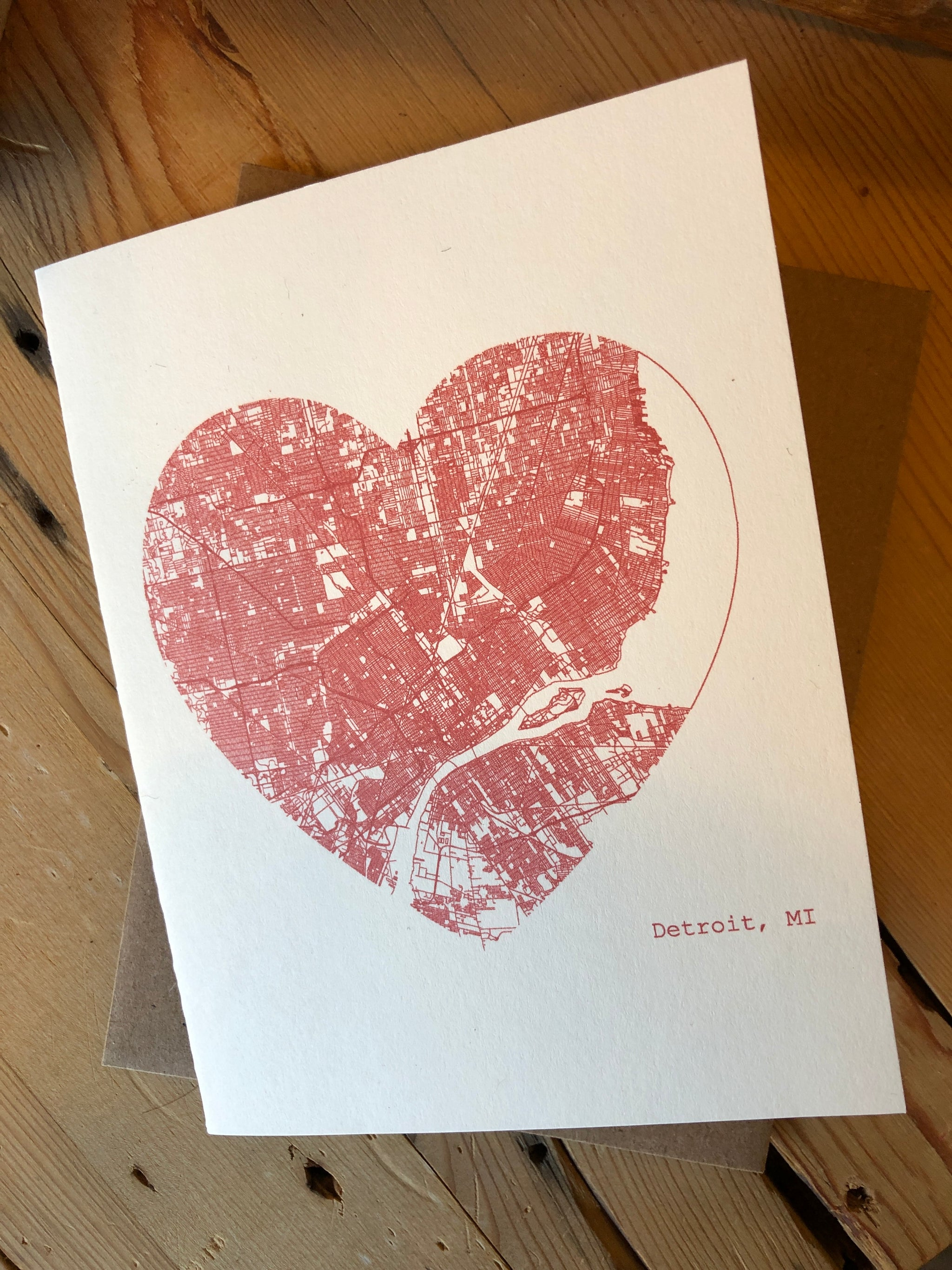 Detroit Michigan City Heart Map Art Print Card - Red - Pure Detroit
